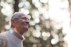 Man in dementia care enjoying the day